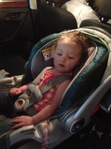 Bear in her car seat